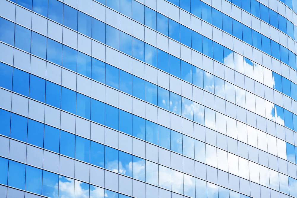 Cloud reflection in city building